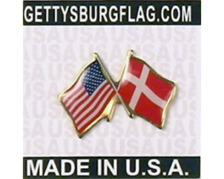 Denmark Lapel Pin (Double Waving Flag w/USA)