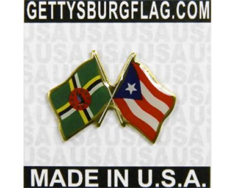 Dominica & Puerto Rico Lapel Pin (Double Waving Flags)