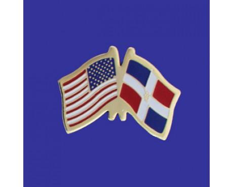 Dominican Republic Lapel Pin (Double Waving Flag W/USA)
