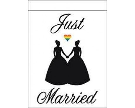 Just Married-Lesbian Flag Banner