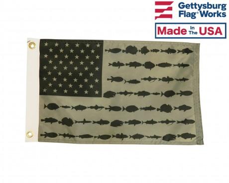 "American Fisherman Boat Flag-Black & White-12x18"""