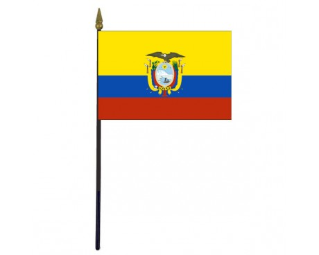 Ecuador Stick Flag (with seal) - 4x6""