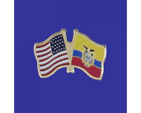 Ecuador (seal Design) Lapel Pin (Double Waving Flag W/USA)