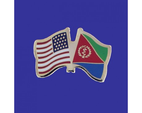 Eritrea Lapel Pin (Double Waving Flag w/USA)