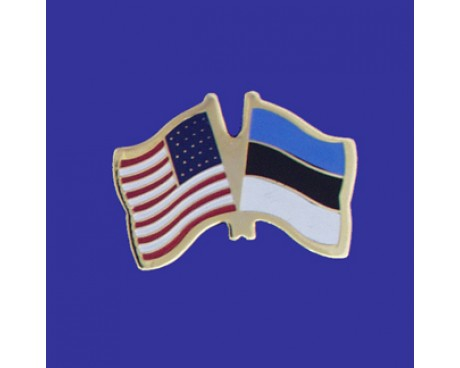 Estonia Lapel Pin (Double Waving Flag w/USA)