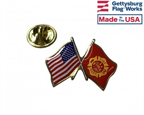 Fire Department Lapel Pin (Double Waving Flag w/USA) Firefighter Pin