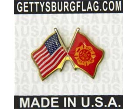 Fire Department Lapel Pin (Double Waving Flag w/USA)