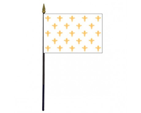 "Fleur-de-lis Stick Flag (White 23) - 4x6"""