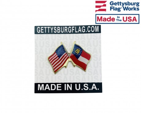 Georgia State Flag Lapel Pin (Double Waving Flag w/USA)