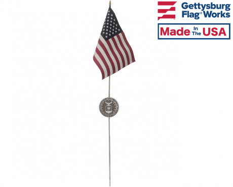 Air Force Aluminum Grave Marker with flag