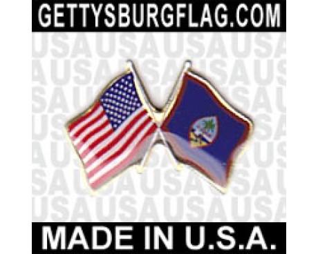 Guam Lapel Pin (Double Waving Flag w/USA)