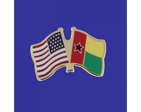 Guinea Bissau Lapel Pin (Double Waving Flag w/USA)