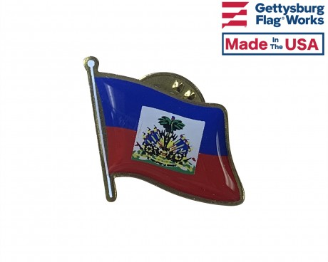 Haiti (historical seal design) Lapel Pin (Single Waving Flag)