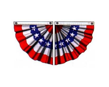 Patriotic Pleated Half Fan, Cotton 3'