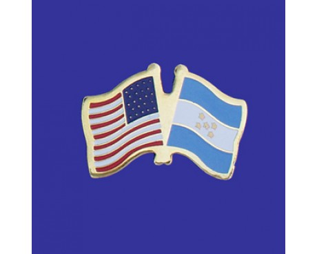 Honduras Lapel Pin (Double Waving Flag w/USA)