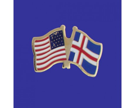 Iceland Lapel Pin (Double Waving Flag w/USA)