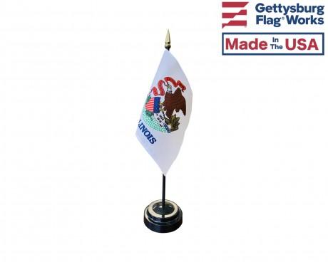 """Illinois State Stick Flag - 4x6"""""""