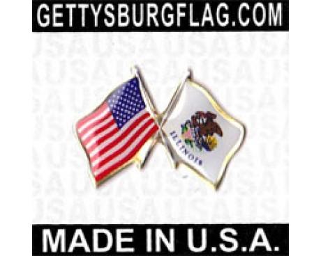 Illinois State Flag Lapel Pin (Double Waving Flag w/USA)