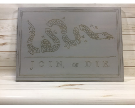 """Join or Die"" Hand-Made Wood Carving"