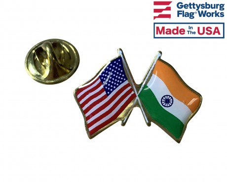 India Lapel Pin (Double Waving Flag w/USA)