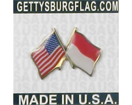 Indonesia Lapel Pin (Double Waving Flag w/USA)