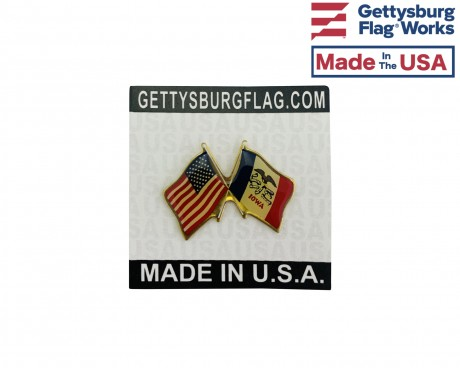 Iowa State Flag Lapel Pin (Double Waving Flag w/USA)