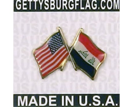 Iraq Lapel Pin (Double Waving Flag w/USA)