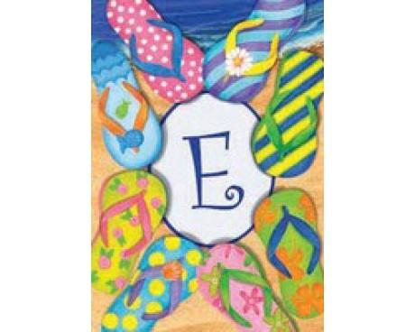 """Flip Flops Monogram """"E"""" Garden Flag"""