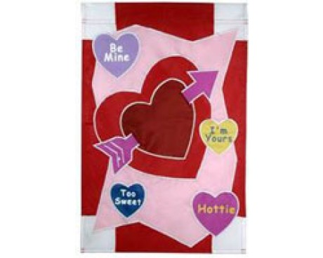 Candy Heart Sayings Garden Flag