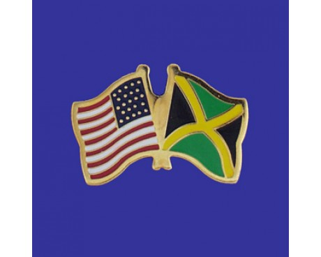 Jamaica Lapel Pin (Double Waving Flag w/USA)