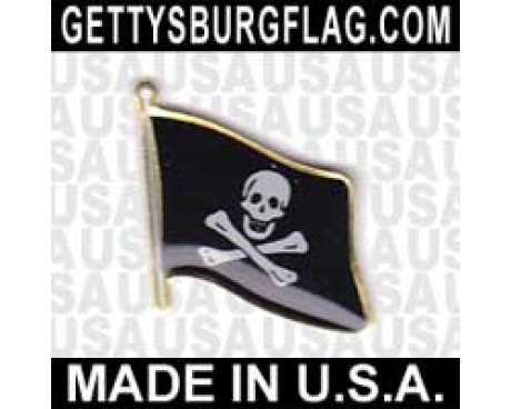 Jolly Roger Lapel Pin (Single Waving Flag)