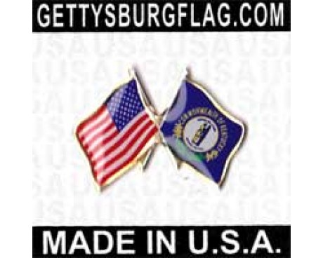 Kentucky State Flag Lapel Pin (Double Waving Flag w/USA)