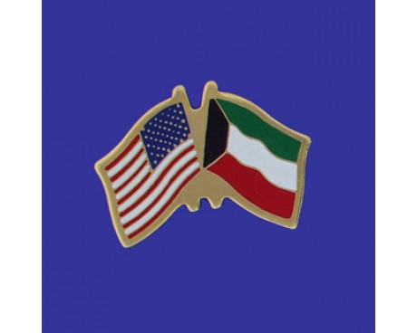 Kuwait Lapel Pin (Double Waving Flag w/USA)