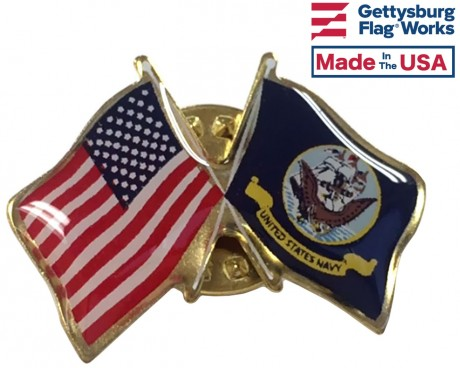 Navy Flag Lapel Pin (Double Waving Flag w/USA)
