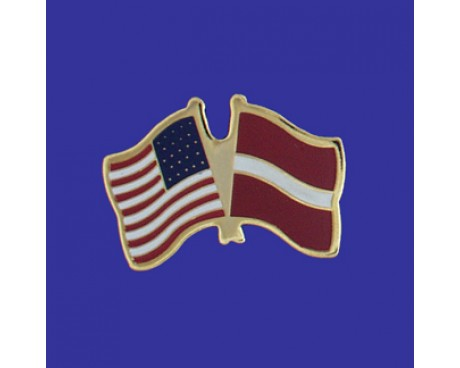 Latvia Lapel Pin (Double Waving Flag w/USA)