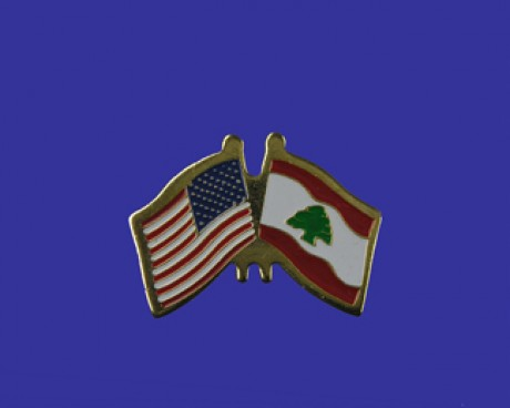 Lebanon Lapel Pin (Double Waving Flag w/USA)