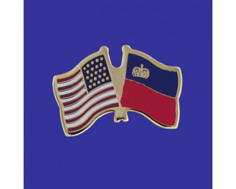 Liechtenstein Lapel Pin (Double Waving Flag w/USA)