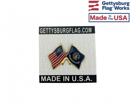 Louisiana State Flag Lapel Pin (Double Waving Flag w/USA)