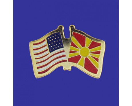 Macedonia Lapel Pin (Double Waving Flag w/USA)