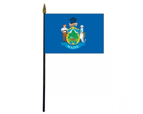 Maine State Stick Flag - 4x6""