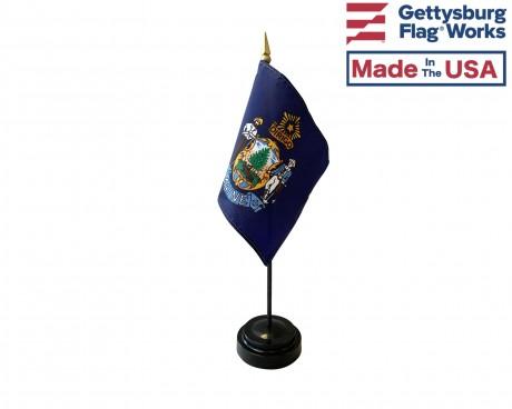 "Maine State Stick Flag - 4x6"""