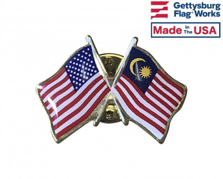 Malaysia Lapel Pin (Double Waving Flag w/USA)