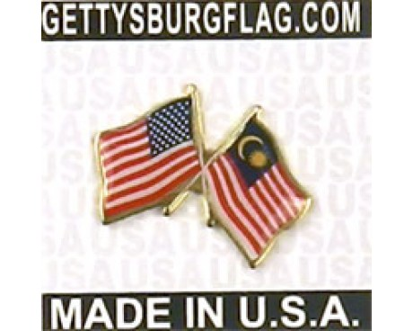 Malaysia Lapel Pin (Double Waving Flag w/USA)