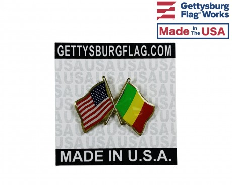 Mali Lapel Pin (Double Waving Flag w/USA)