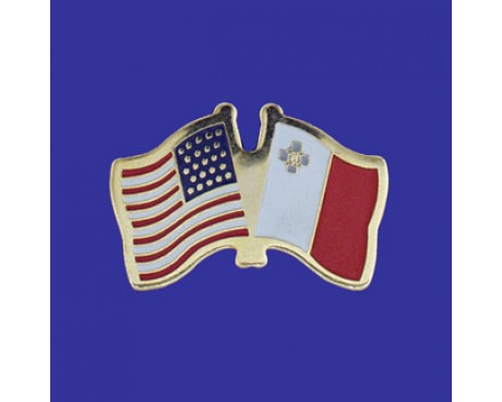 Malta Lapel Pin (Double Waving Flag w/USA)