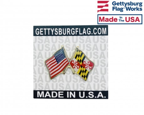 Maryland State Flag Lapel Pin (Double Waving Flag w/USA)
