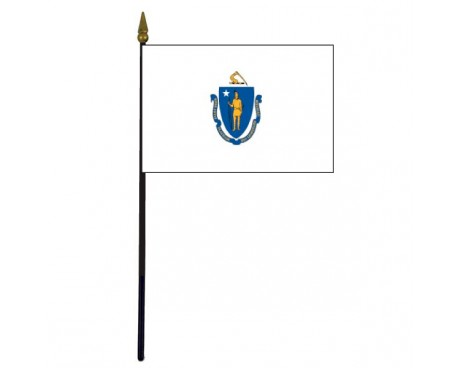 Massachusetts State Stick Flag - 4x6""