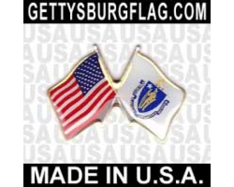 Massachusetts State Flag Lapel Pin (Double Waving Flag w/USA)