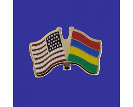 Mauritius Lapel Pin (Double Waving Flag w/USA)