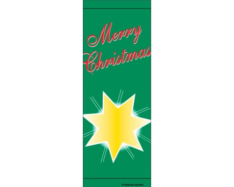 Merry Christmas Star Avenue Banner - Green